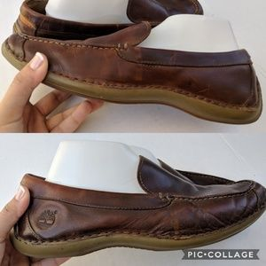 Timberlands Men's Brown Leather Slip on Loafers